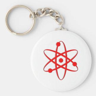 atom red basic round button keychain