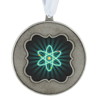 Atom Scalloped Pewter Ornament