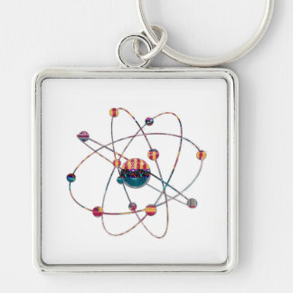 Atom Science School Research Development NVN658 RN Silver-Colored Square Keychain