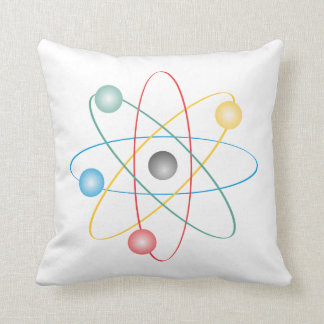 Atom With Colorful Electrons Throw Pillow