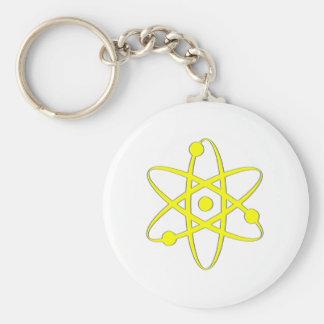 atom yellow basic round button keychain