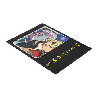 Atomic Abstract the Kiss Goodbye painting on a Doormat