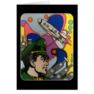 Atomic Abstract the Rocket Captain painting on a Card
