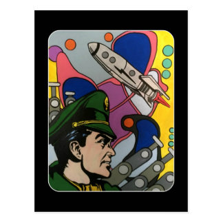 Atomic Abstract the Rocket Captain painting on a Postcard