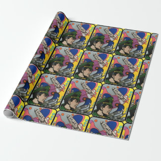 Atomic Abstract the Rocket Captain painting on a Wrapping Paper