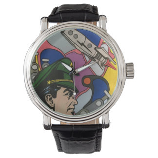 Atomic Abstract the Rocket Captain painting on a Wrist Watch