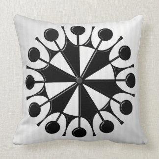 Atomic Age Graphic in Black on White Throw Pillow