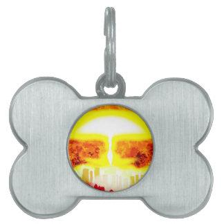 Atomic Bomb Heat Background Pet ID Tag