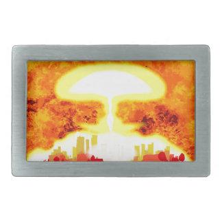 Atomic Bomb Heat Background Rectangular Belt Buckle