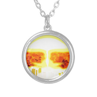 Atomic Bomb Heat Background Silver Plated Necklace