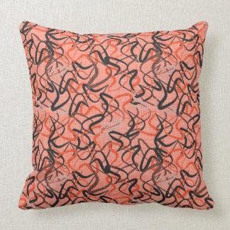 Atomic Boomerangs | Coral, Black & Gray Retro Throw Pillow