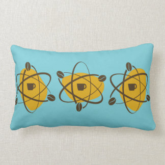 Atomic Coffee Beans  in Gold, Brown, and Teal Lumbar Pillow