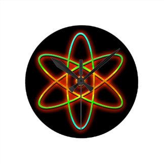 Atomic concept. wall clocks