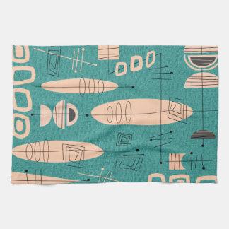 Atomic Era Inspired Fish Art Teal Hand Towel