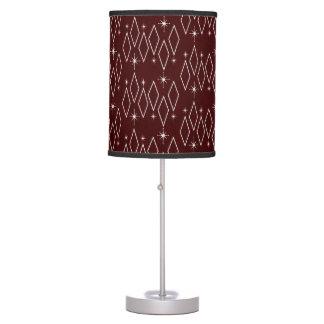 Atomic Era White Diamonds Starburst Maroon Texture Table Lamp