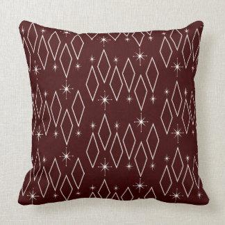Atomic Era White Diamonds Starburst Maroon Texture Throw Pillow