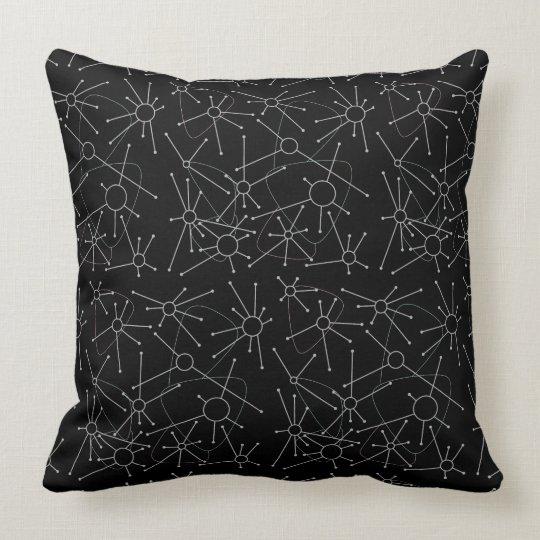 Atomic in Black Throw Pillow