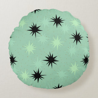 Atomic Jade and Mint Starbursts Round Pillow