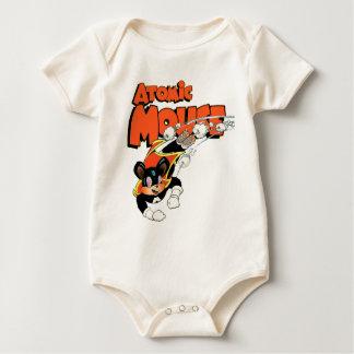 Atomic Mouse cute cartoon art superhero Baby Bodysuit