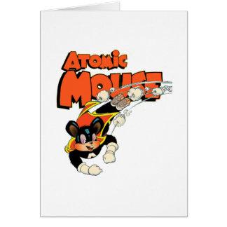 Atomic Mouse cute cartoon art superhero Card