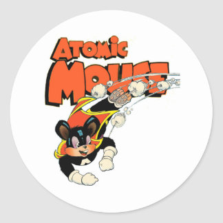 Atomic Mouse cute cartoon art superhero Classic Round Sticker