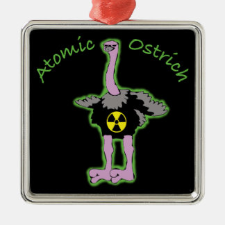 Atomic Ostrich character and name Silver-Colored Square Ornament