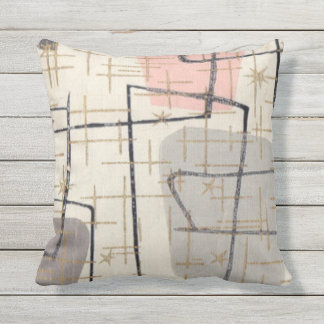 Atomic Pink and Grey Pattern Outdoor Pillow