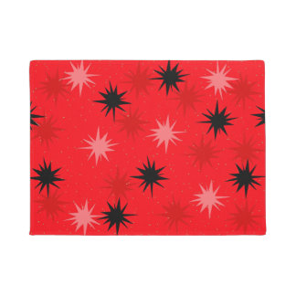 Atomic Red Starbursts Door Mat