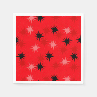 Atomic Red Starbursts Paper Cocktail Napkins Paper Napkins