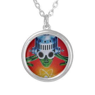 ATOMIC SPACEMAN SILVER PLATED NECKLACE