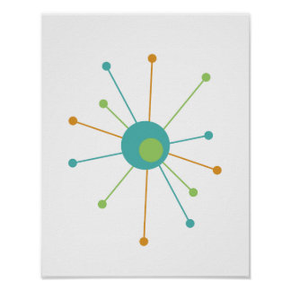Atomic Star Mid Century Modern Styled Poster