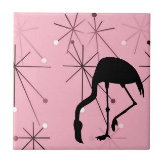 Atomic Starburst MidCentury Modern Flamingo Pink Tiles