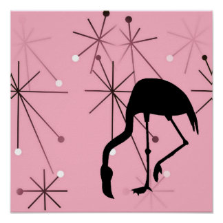 Atomic Starburst Retro Kitsch Flamingo Poster