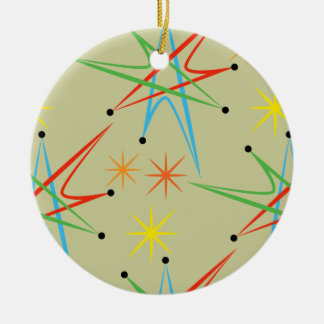 Atomic Starburst Retro Multicolored Pattern Ceramic Ornament
