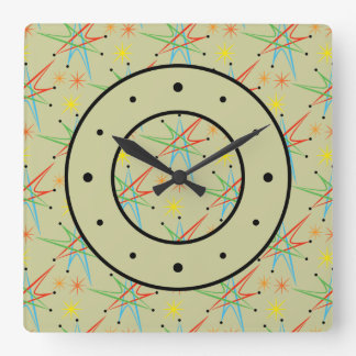 Atomic Starburst Retro Multicolored Pattern Square Wall Clock