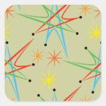 Atomic Starburst Retro Multicolored Pattern Square Sticker