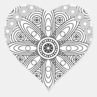 Atomic Structures Mandala Heart Sticker