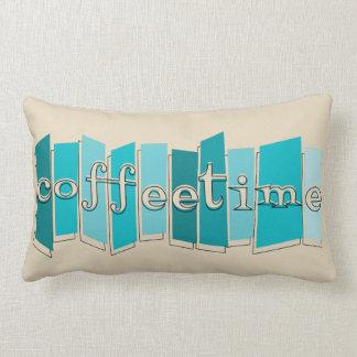Atomic Style Retro Coffeetime Lumbar Pillow (teal)