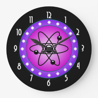 Atomic Symbol on a Pink background Large Clock