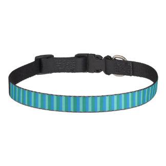 Atomic Teal & Turquoise Stripes Dog Collar
