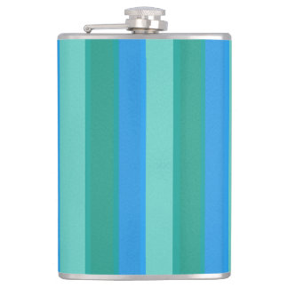 Atomic Teal & Turquoise Stripes Flask