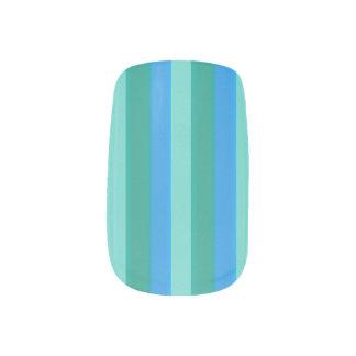 Atomic Teal & Turquoise Stripes Minx Nail Art