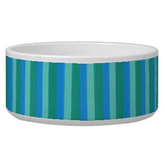 Atomic Teal & Turquoise Stripes Pet Bowl