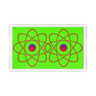 Atoms Small Rectangle Tray,Green Serving Tray