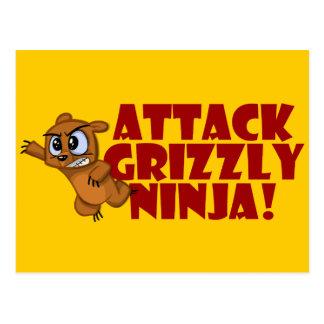 Attack Grizzly Ninja Postcard