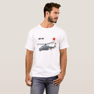 Attack helicopter Mi-24 t-shirt with a red star