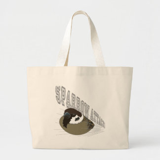 Attack of sparrow large tote bag