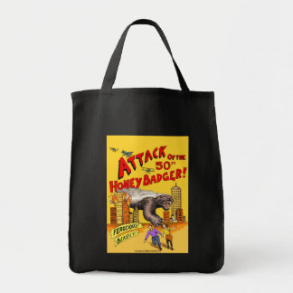 Attack of the 50ft Honey Badger! shopping tote bag
