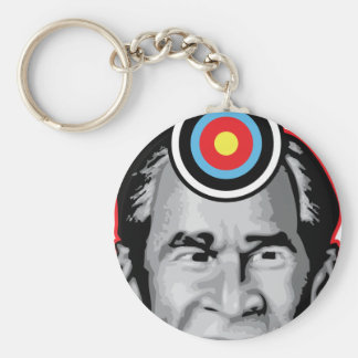 Attack of the flying shoe-Throw Shoe @ George Bush Basic Round Button Keychain