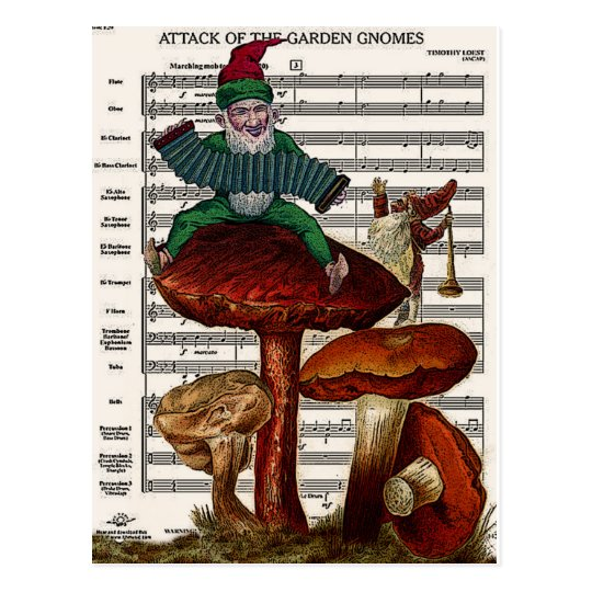 """Attack of the Garden Gnomes"" Postcard"